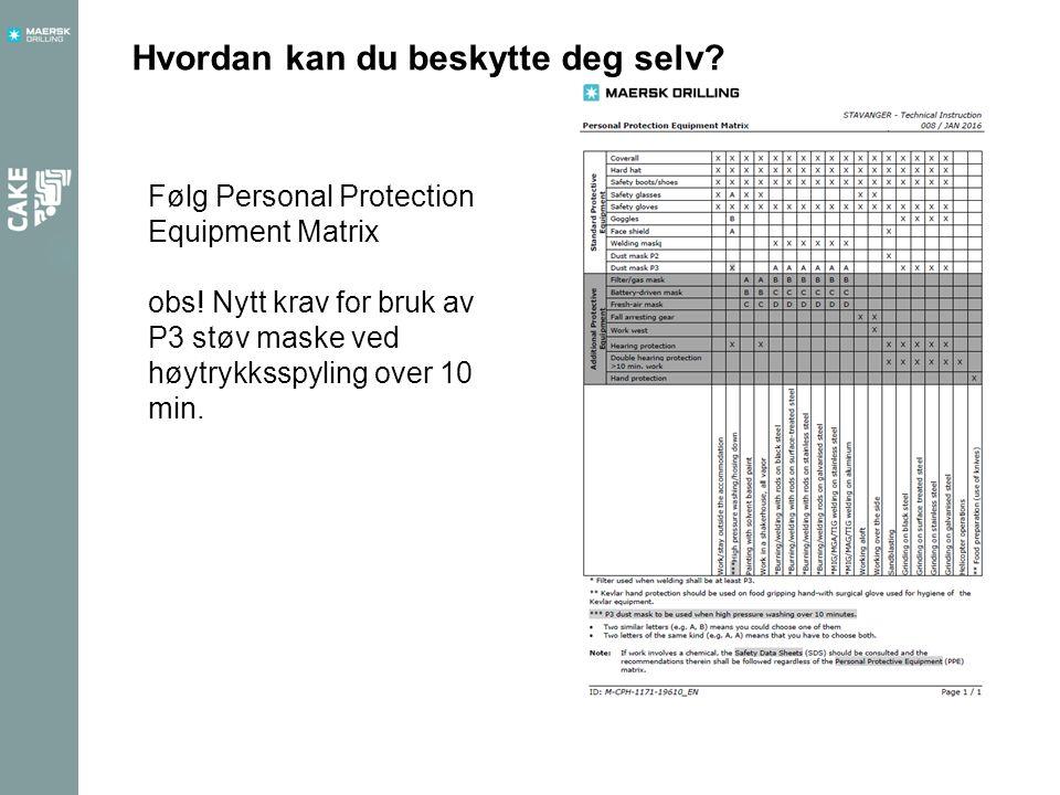 Hvordan kan du beskytte deg selv. Følg Personal Protection Equipment Matrix obs.