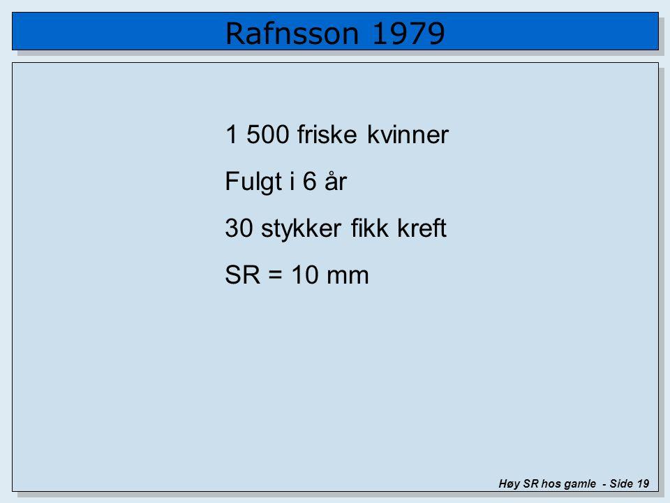 Rafnsson 1979 Høy SR hos gamle - Side 19 1 500 friske kvinner Fulgt i 6 år 30 stykker fikk kreft SR = 10 mm