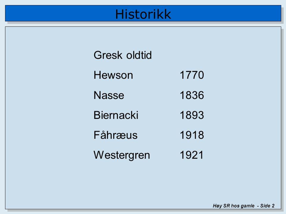 Historikk Høy SR hos gamle - Side 2 Gresk oldtid Hewson1770 Nasse1836 Biernacki1893 Fåhræus1918 Westergren1921