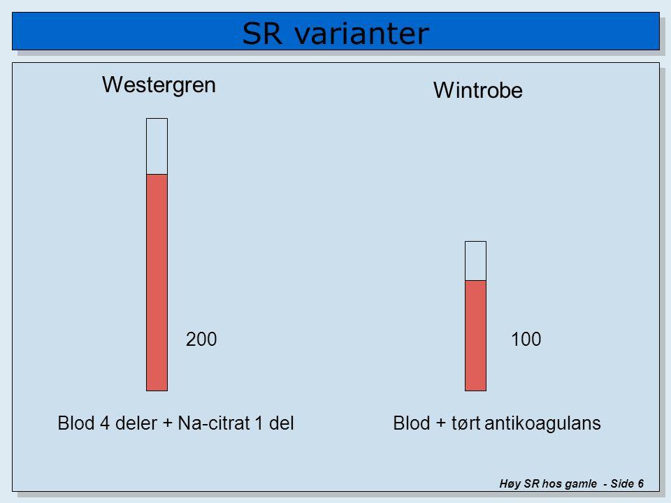 SR varianter Høy SR hos gamle - Side 6 Westergren Wintrobe 200100 Blod 4 deler + Na-citrat 1 delBlod + tørt antikoagulans