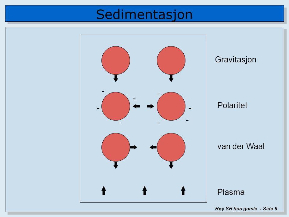Sedimentasjon Høy SR hos gamle - Side 9 - - - - -- - - Gravitasjon Polaritet van der Waal Plasma