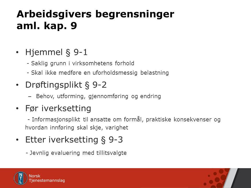 Arbeidsgivers begrensninger aml. kap.