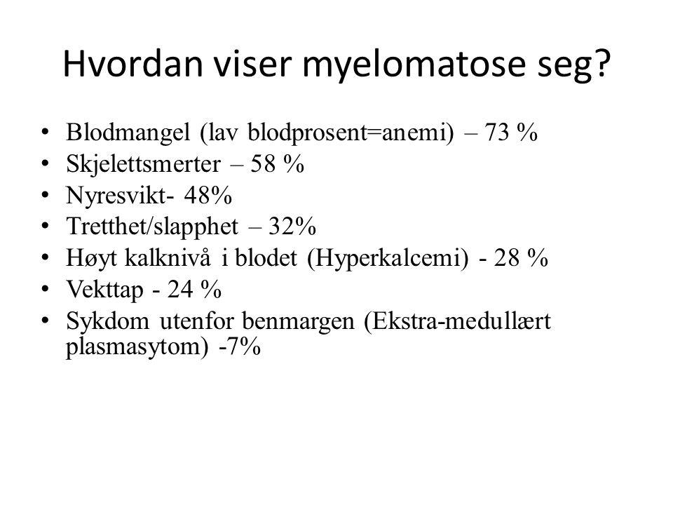 Hvordan viser myelomatose seg.