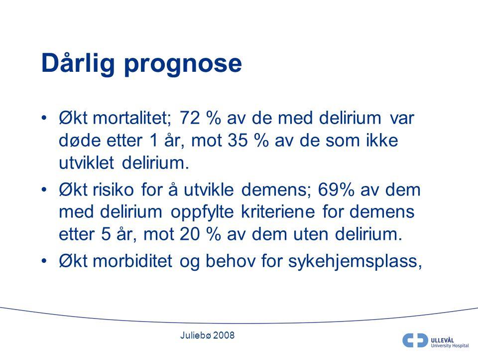 Juliebø 2008 Dårlig prognose Økt mortalitet; 72 % av de med delirium var døde etter 1 år, mot 35 % av de som ikke utviklet delirium.