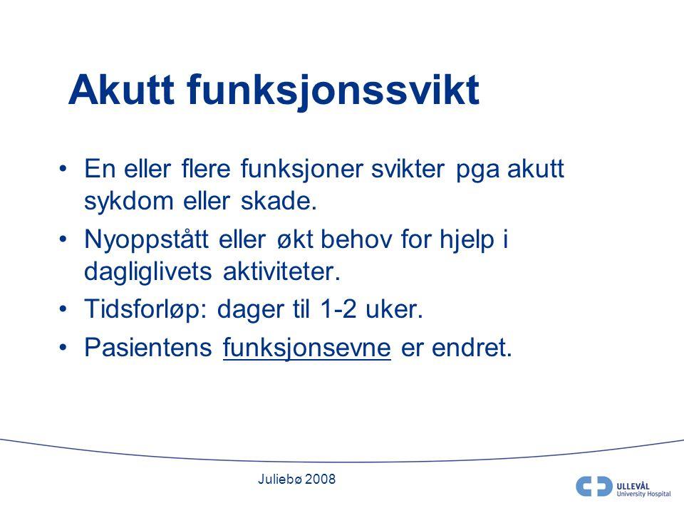 Juliebø 2008 Hvilke funksjoner.Gangfunksjon- immobilitet og falltendens.
