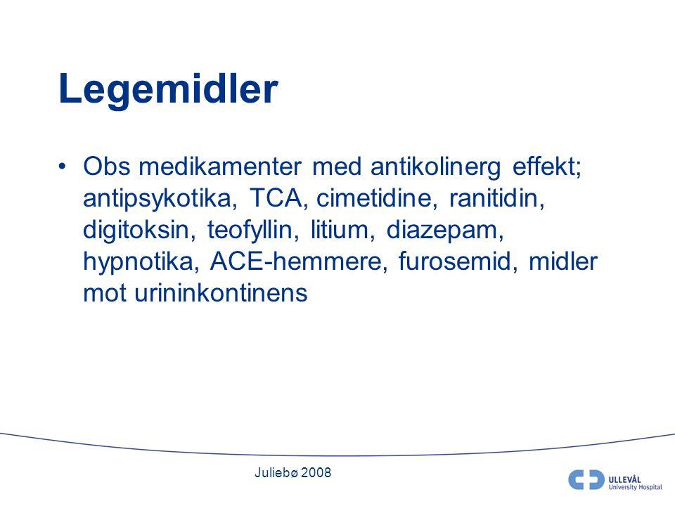 Juliebø 2008 Legemidler Obs medikamenter med antikolinerg effekt; antipsykotika, TCA, cimetidine, ranitidin, digitoksin, teofyllin, litium, diazepam, hypnotika, ACE-hemmere, furosemid, midler mot urininkontinens