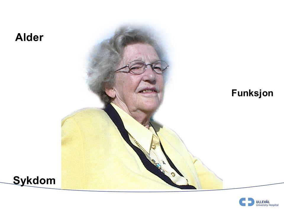 Covinsky KE, 2003, og data fra Mottagelsen Ullevål US Atypisk sykdomspresentasjon Av eldre innlagt akutt i medisinske sykehusavdelinger har 43 –55 % et funksjonstap de to siste ukene før innleggelse Kan betraktes som tegn på skrøpelighet (frailty).