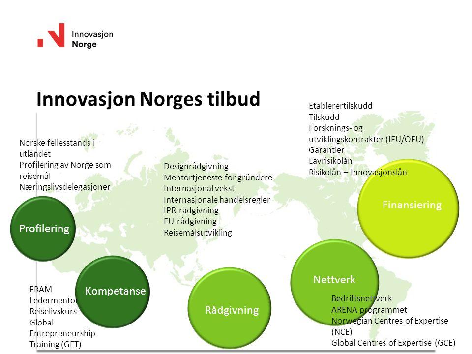 Innovasjon Norges tilbud Norske fellesstands i utlandet Profilering av Norge som reisemål Næringslivsdelegasjoner Profilering Kompetanse Rådgivning Ne