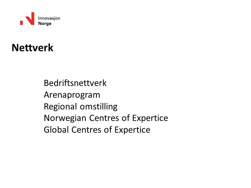 Nettverk Bedriftsnettverk Arenaprogram Regional omstilling Norwegian Centres of Expertice Global Centres of Expertice