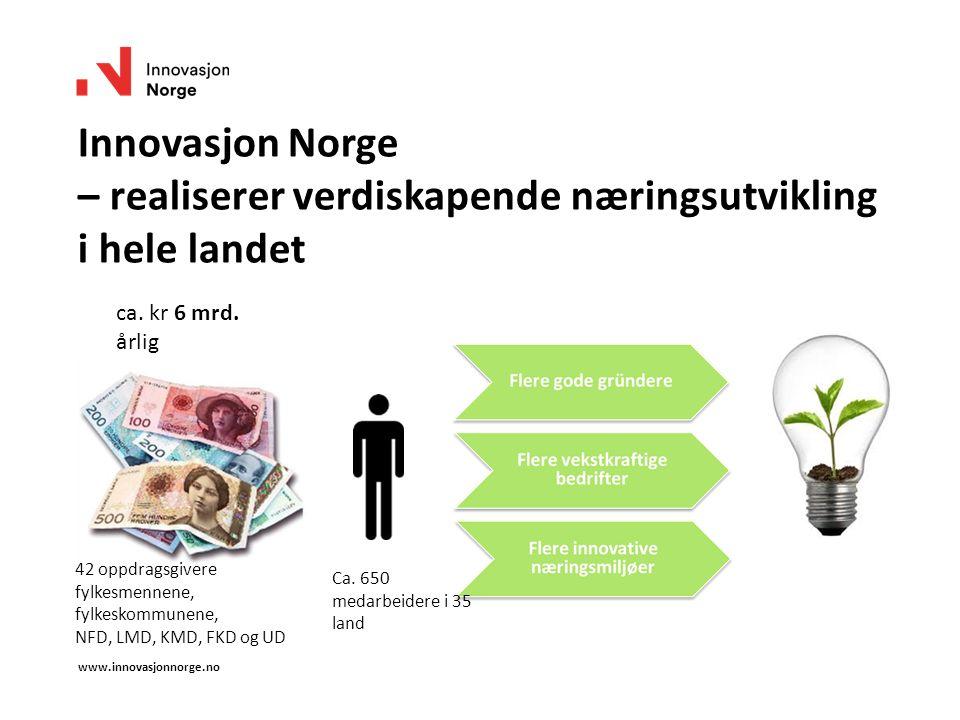 Innovasjon Norge – realiserer verdiskapende næringsutvikling i hele landet www.innovasjonnorge.no ca. kr 6 mrd. årlig Ca. 650 medarbeidere i 35 land 4