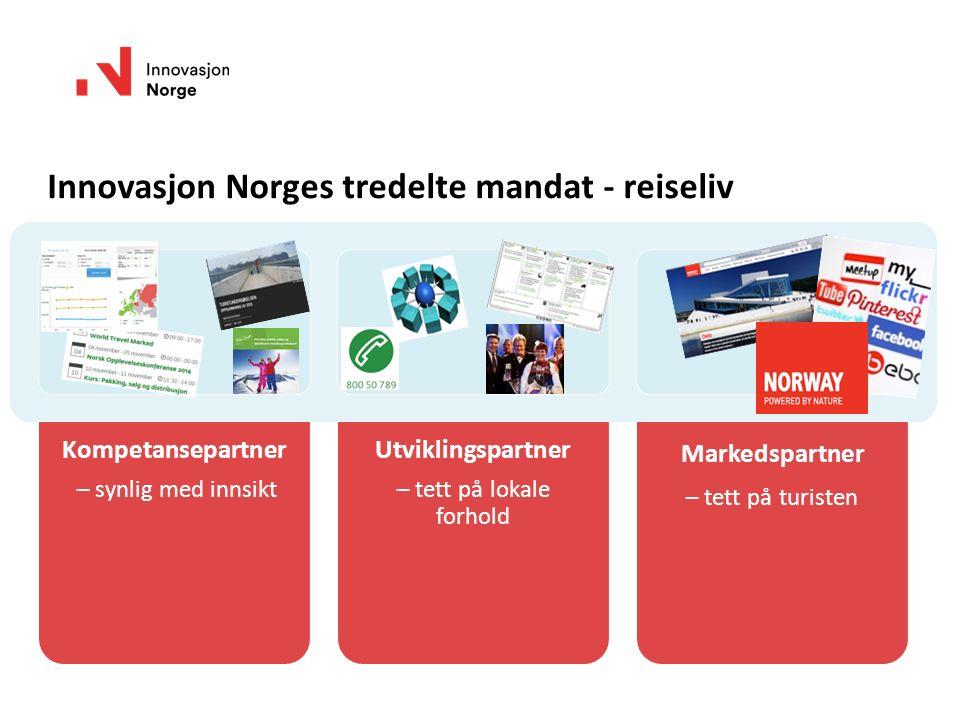 Innovasjon Norges tredelte mandat - reiseliv Kompetansepartner – synlig med innsikt Utviklingspartner – tett på lokale forhold Markedspartner – tett p