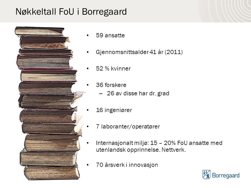 Nøkkeltall FoU i Borregaard 59 ansatte Gjennomsnittsalder 41 år (2011) 52 % kvinner 36 forskere – 26 av disse har dr.