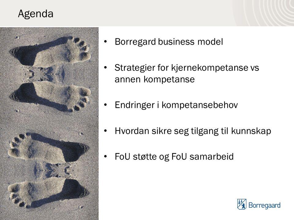 Agenda Borregard business model Strategier for kjernekompetanse vs annen kompetanse Endringer i kompetansebehov Hvordan sikre seg tilgang til kunnskap FoU støtte og FoU samarbeid