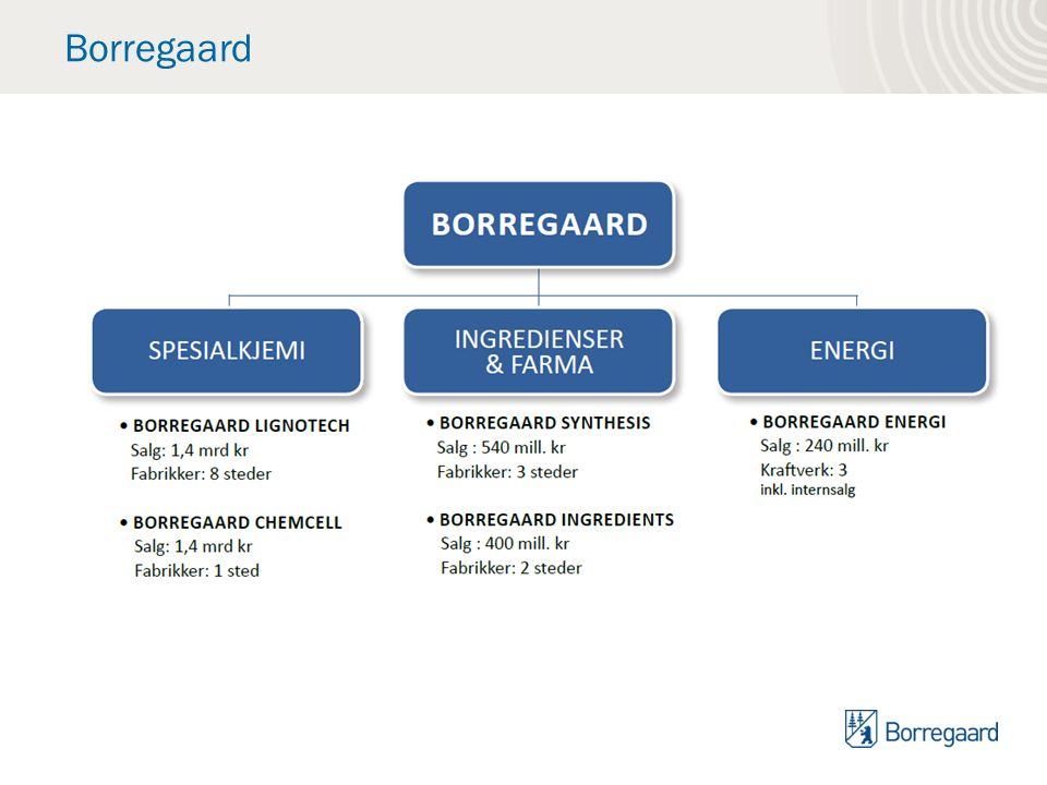 Biorefinery - Business model Borregaard is the global leader in bio based chemicals.