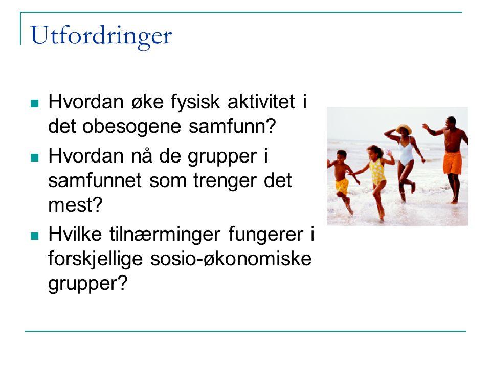 Utfordringer Hvordan øke fysisk aktivitet i det obesogene samfunn.