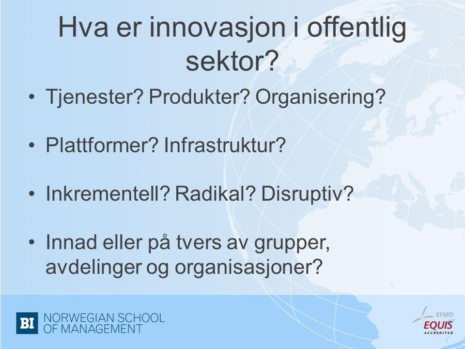 Hva er innovasjon i offentlig sektor. Tjenester. Produkter.