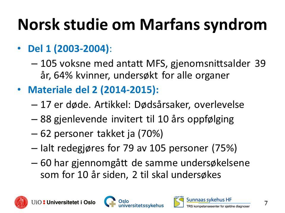 Norsk studie om Marfans syndrom Del 1 (2003-2004): – 105 voksne med antatt MFS, gjenomsnittsalder 39 år, 64% kvinner, undersøkt for alle organer Materiale del 2 (2014-2015): – 17 er døde.