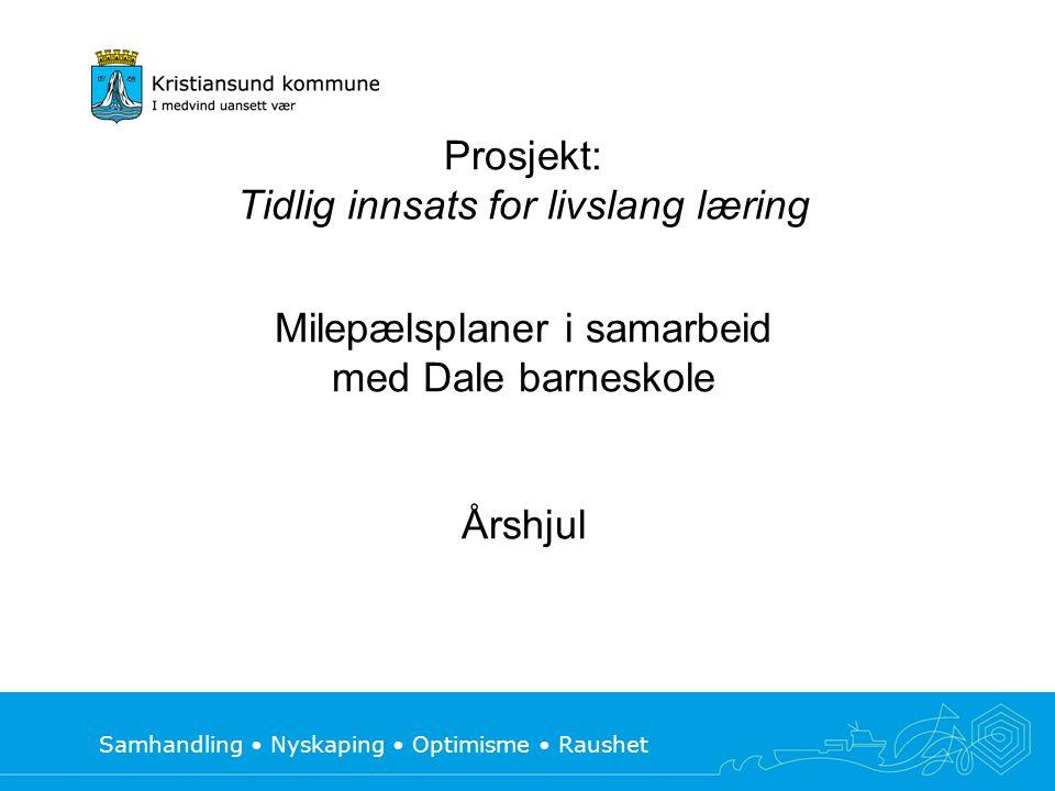 Samhandling Nyskaping Optimisme Raushet Prosjekt: Tidlig innsats for livslang læring Milepælsplaner i samarbeid med Dale barneskole Årshjul