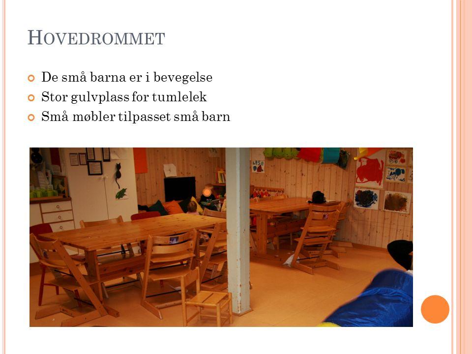 H OVEDROMMET De små barna er i bevegelse Stor gulvplass for tumlelek Små møbler tilpasset små barn
