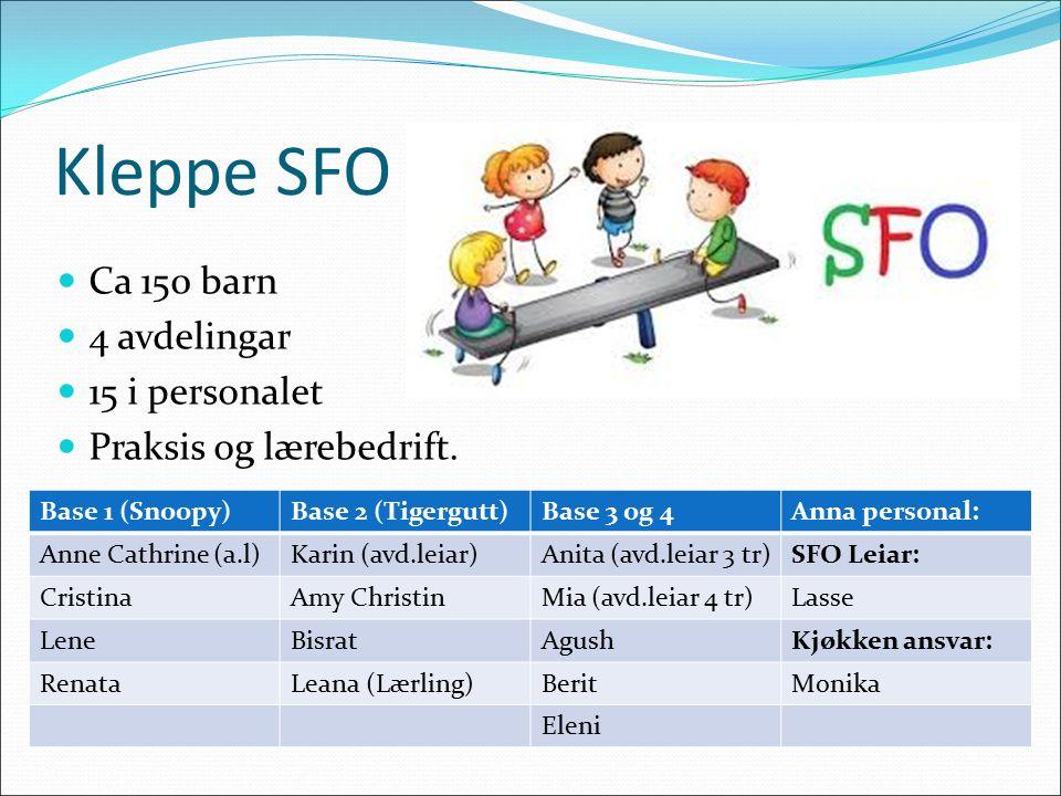 Kleppe SFO Ca 150 barn 4 avdelingar 15 i personalet Praksis og lærebedrift.