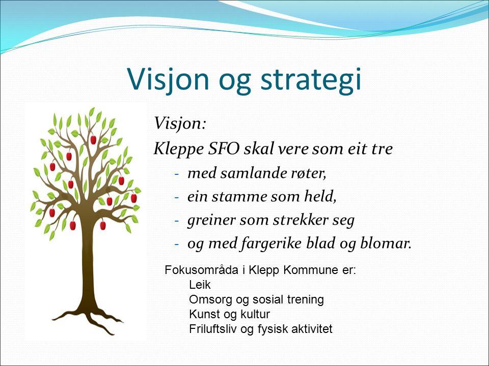 Visjon og strategi Visjon: Kleppe SFO skal vere som eit tre - med samlande røter, - ein stamme som held, - greiner som strekker seg - og med fargerike blad og blomar.
