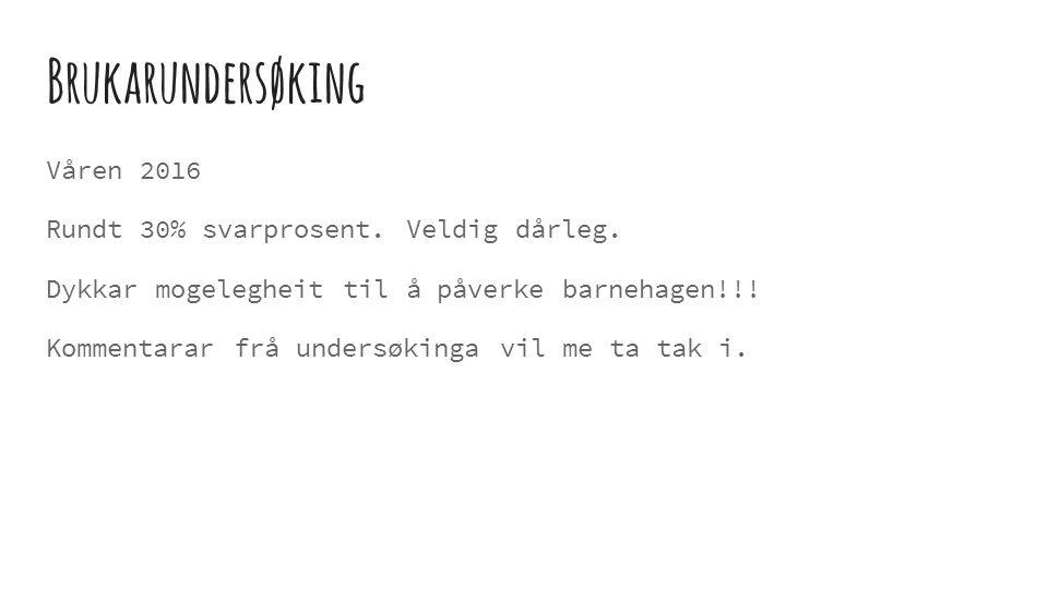 Brukarundersøking Våren 2016 Rundt 30% svarprosent.