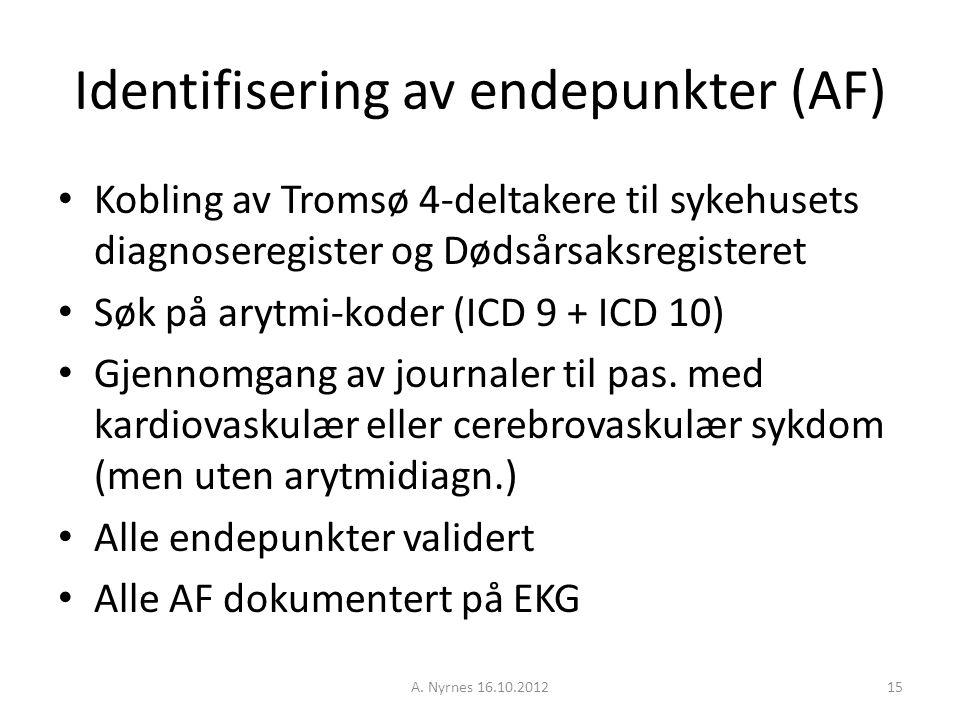 A. Nyrnes 16.10.201215 Identifisering av endepunkter (AF) Kobling av Tromsø 4-deltakere til sykehusets diagnoseregister og Dødsårsaksregisteret Søk på