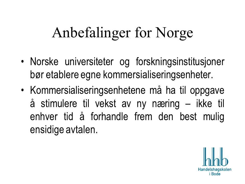 Anbefalinger for Norge Norske universiteter og forskningsinstitusjoner bør etablere egne kommersialiseringsenheter.