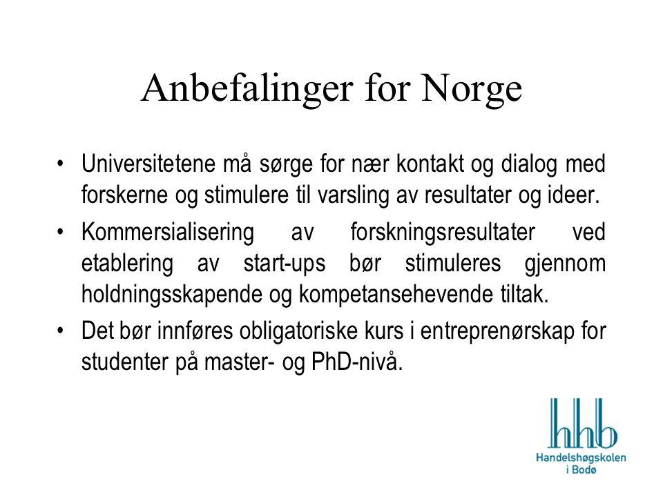 Anbefalinger for Norge Universitetene må sørge for nær kontakt og dialog med forskerne og stimulere til varsling av resultater og ideer.