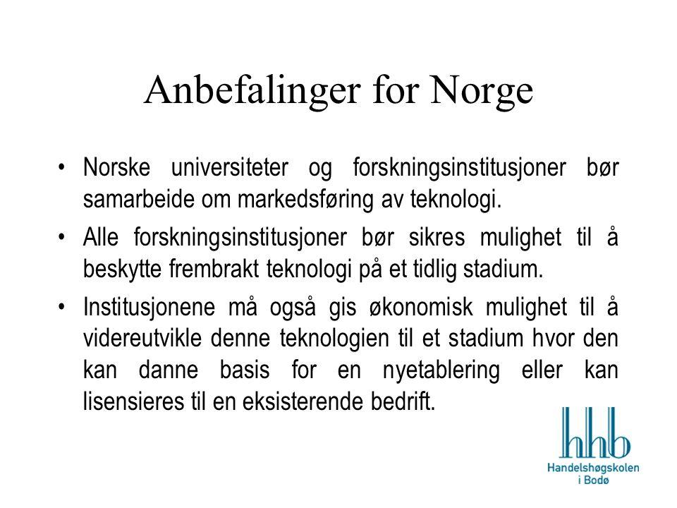Anbefalinger for Norge Norske universiteter og forskningsinstitusjoner bør samarbeide om markedsføring av teknologi.