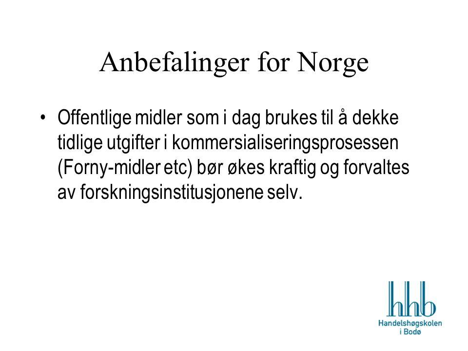 Anbefalinger for Norge Offentlige midler som i dag brukes til å dekke tidlige utgifter i kommersialiseringsprosessen (Forny-midler etc) bør økes kraftig og forvaltes av forskningsinstitusjonene selv.