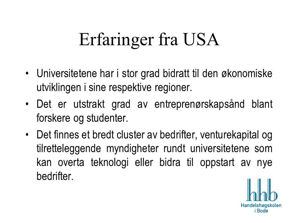 Erfaringer fra USA Universitetene har i stor grad bidratt til den økonomiske utviklingen i sine respektive regioner.