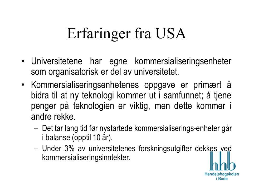 Erfaringer fra USA Universitetene har egne kommersialiseringsenheter som organisatorisk er del av universitetet.