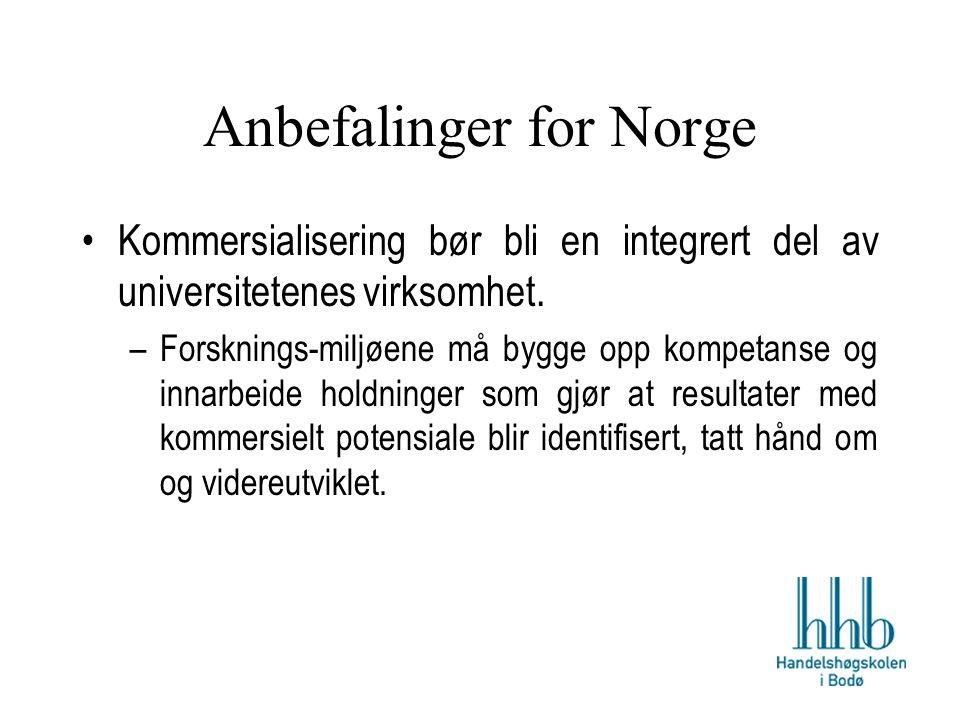 Anbefalinger for Norge Kommersialisering bør bli en integrert del av universitetenes virksomhet.