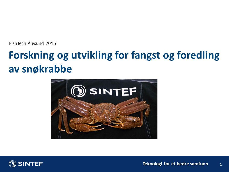 Teknologi for et bedre samfunn FishTech Ålesund 2016 1 Forskning og utvikling for fangst og foredling av snøkrabbe