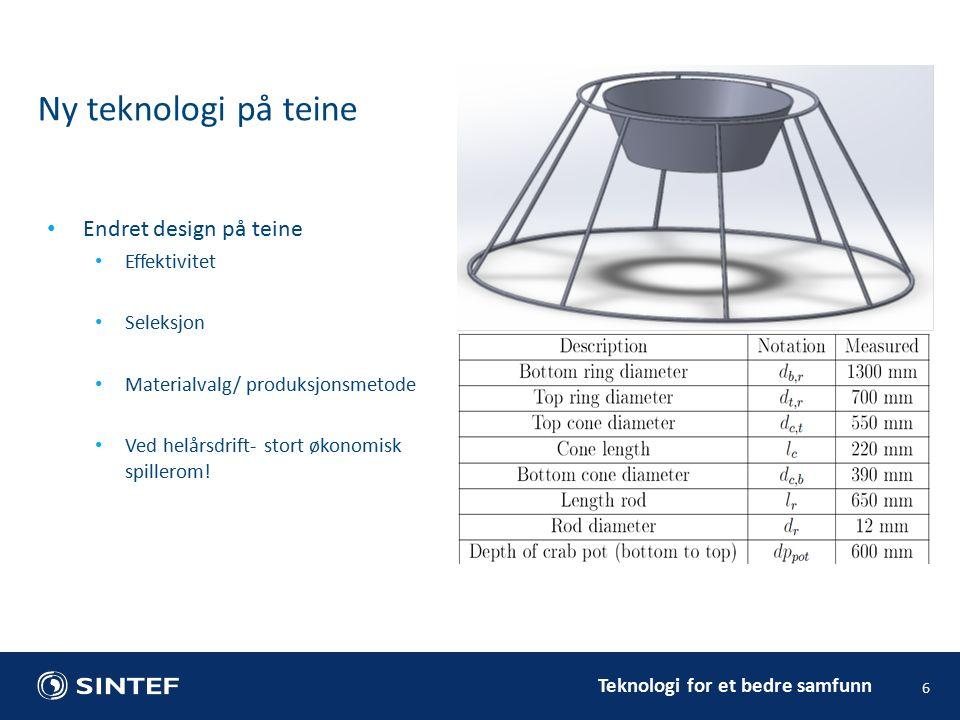 Teknologi for et bedre samfunn 6 Ny teknologi på teine Endret design på teine Effektivitet Seleksjon Materialvalg/ produksjonsmetode Ved helårsdrift- stort økonomisk spillerom!