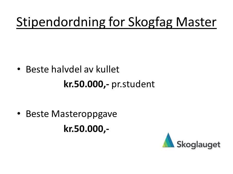 Stipendordning for Skogfag Master Beste halvdel av kullet kr.50.000,- pr.student Beste Masteroppgave kr.50.000,-