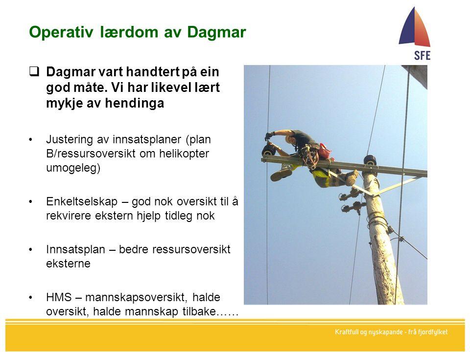 Operativ lærdom av Dagmar  Dagmar vart handtert på ein god måte.