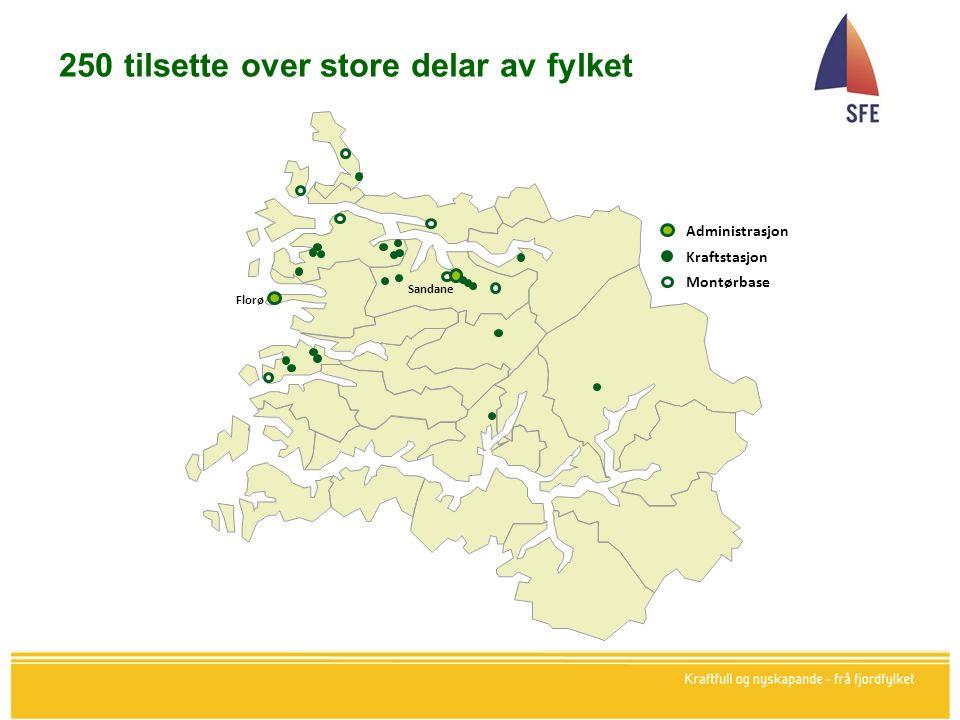 250 tilsette over store delar av fylket Sandane Florø Administrasjon Kraftstasjon Montørbase