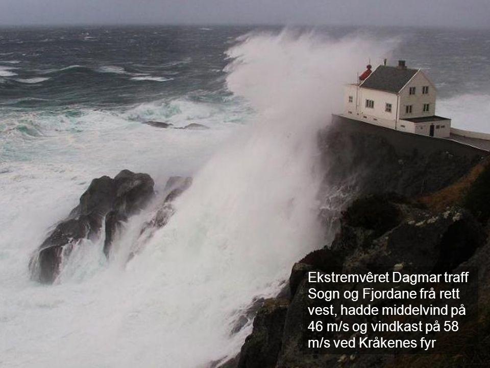 Ekstremvêret Dagmar traff Sogn og Fjordane frå rett vest, hadde middelvind på 46 m/s og vindkast på 58 m/s ved Kråkenes fyr