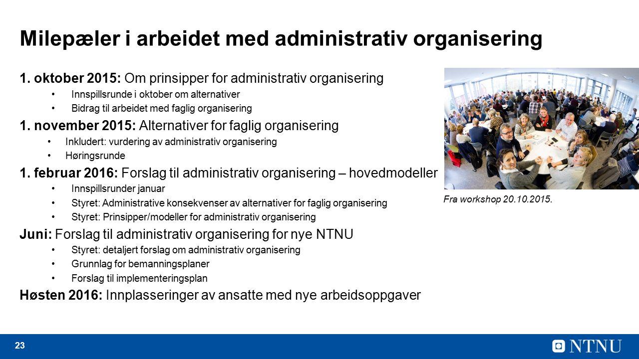 23 Milepæler i arbeidet med administrativ organisering 1.