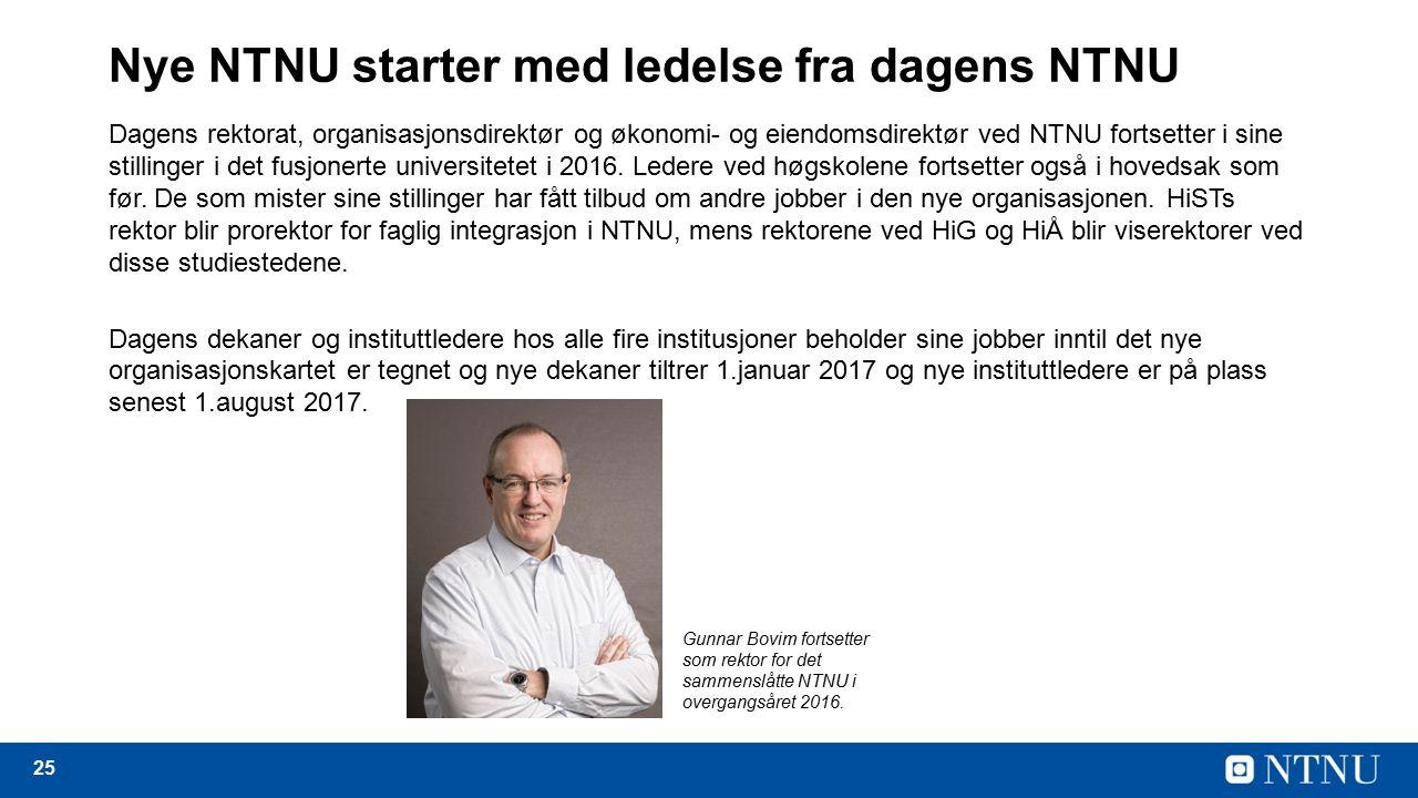 25 Nye NTNU starter med ledelse fra dagens NTNU Dagens rektorat, organisasjonsdirektør og økonomi- og eiendomsdirektør ved NTNU fortsetter i sine stillinger i det fusjonerte universitetet i 2016.