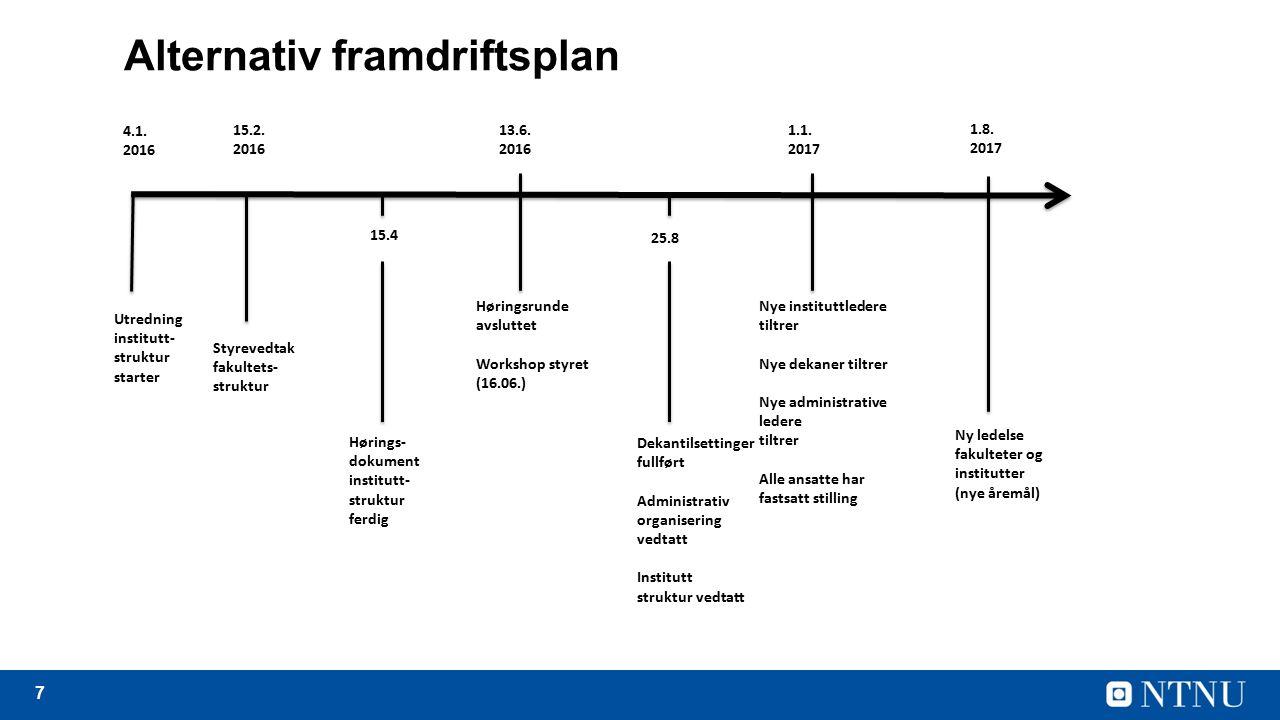 7 Alternativ framdriftsplan Utredning institutt- struktur starter 15.2.