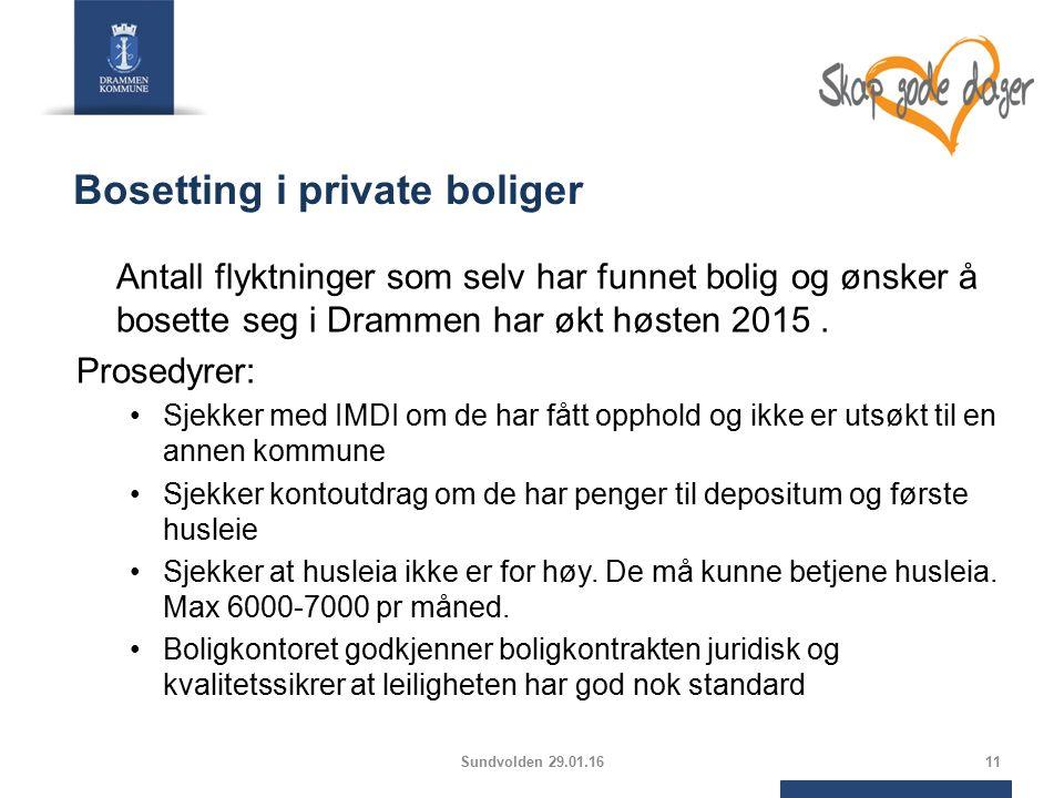 Bosetting i private boliger Antall flyktninger som selv har funnet bolig og ønsker å bosette seg i Drammen har økt høsten 2015.