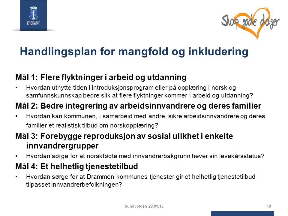 Handlingsplan for mangfold og inkludering Mål 1: Flere flyktninger i arbeid og utdanning Hvordan utnytte tiden i introduksjonsprogram eller på opplæring i norsk og samfunnskunnskap bedre slik at flere flyktninger kommer i arbeid og utdanning.