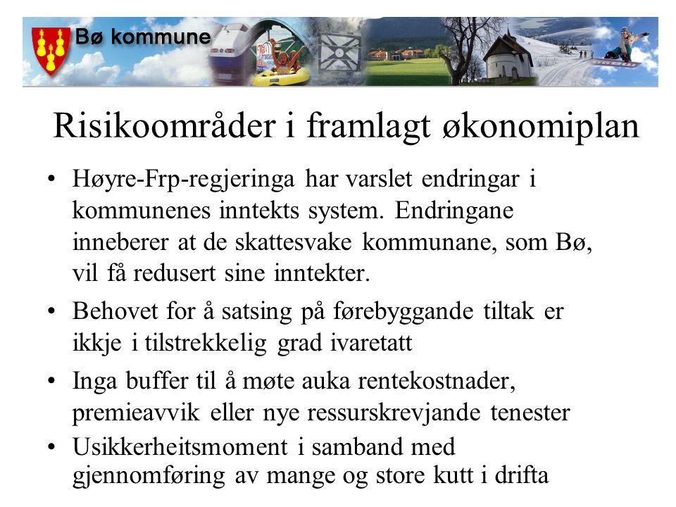 Risikoområder i framlagt økonomiplan Høyre-Frp-regjeringa har varslet endringar i kommunenes inntekts system.