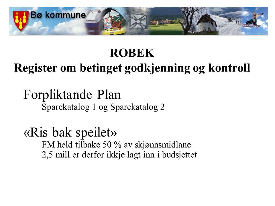 ROBEK Register om betinget godkjenning og kontroll Forpliktande Plan Sparekatalog 1 og Sparekatalog 2 «Ris bak speilet» FM held tilbake 50 % av skjønnsmidlane 2,5 mill er derfor ikkje lagt inn i budsjettet