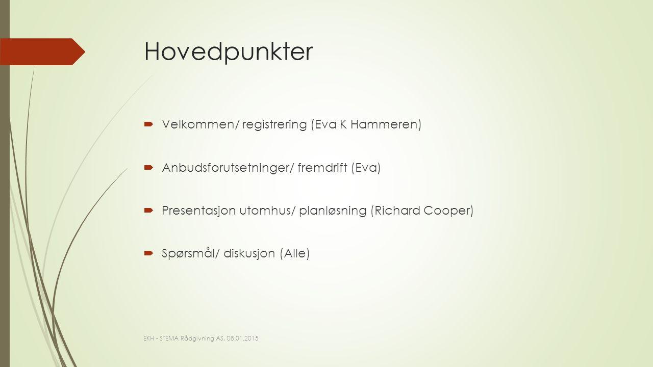 Hovedpunkter  Velkommen/ registrering (Eva K Hammeren)  Anbudsforutsetninger/ fremdrift (Eva)  Presentasjon utomhus/ planløsning (Richard Cooper)  Spørsmål/ diskusjon (Alle) EKH - STEMA Rådgivning AS, 08.01.2015