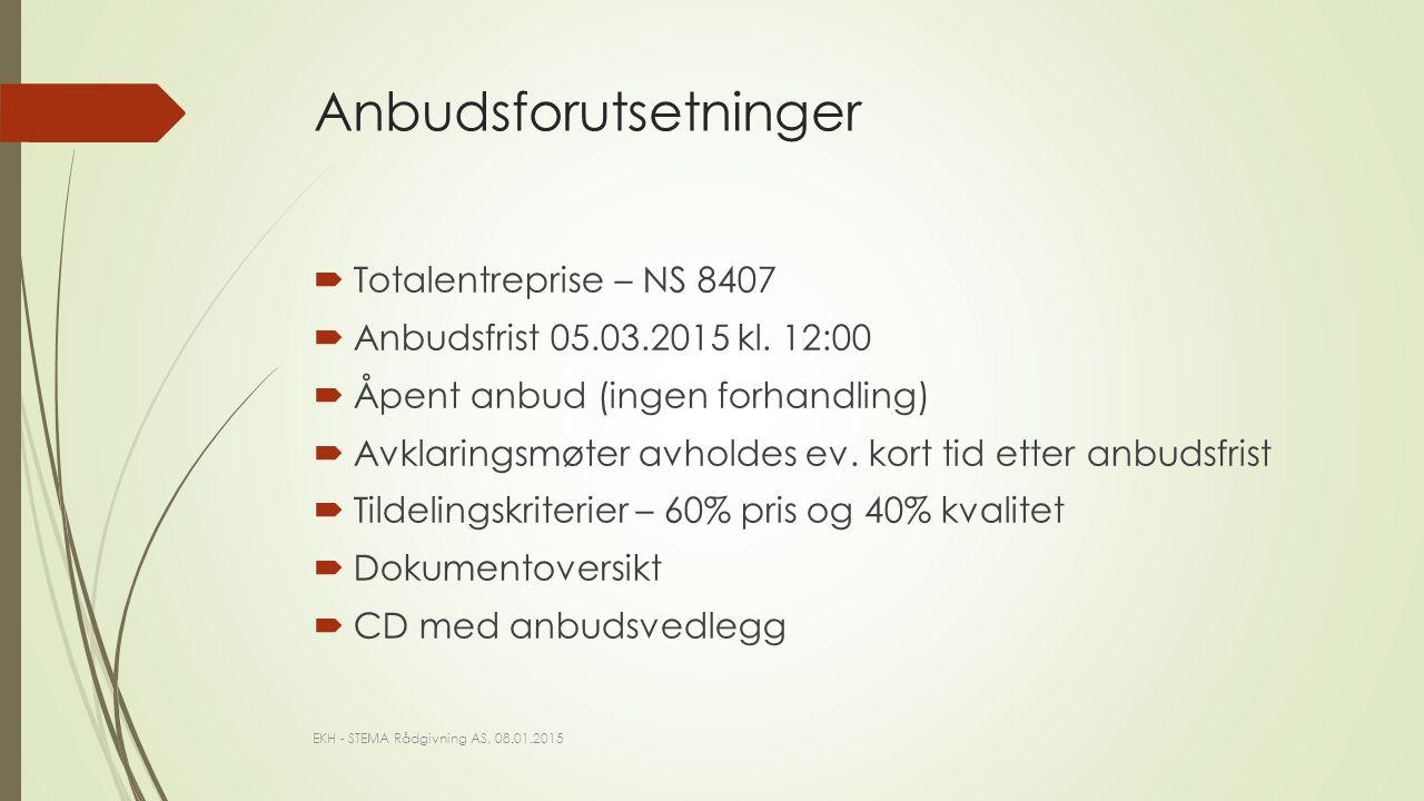  Totalentreprise – NS 8407  Anbudsfrist 05.03.2015 kl.