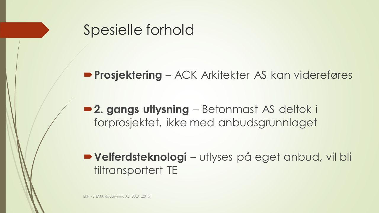 Spesielle forhold  Prosjektering – ACK Arkitekter AS kan videreføres  2.